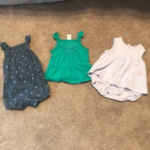 Carter's top and rompers